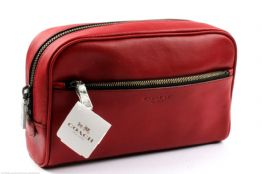 COACH Red Leather Travel Toiletry /Make up Bag Case BNWT